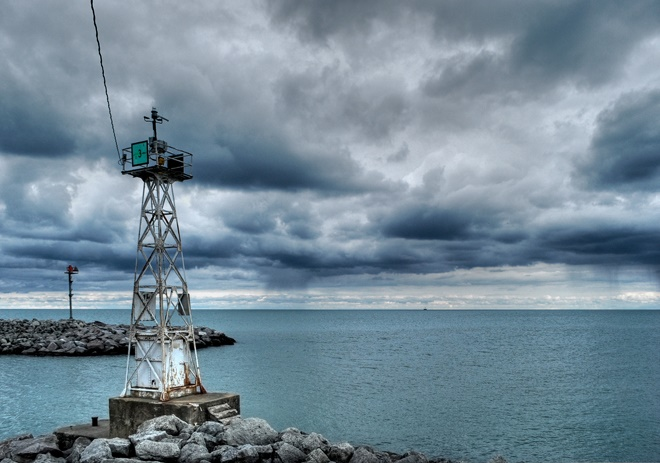 9. What an awesome shot of storm clouds on top of the water in Racine.