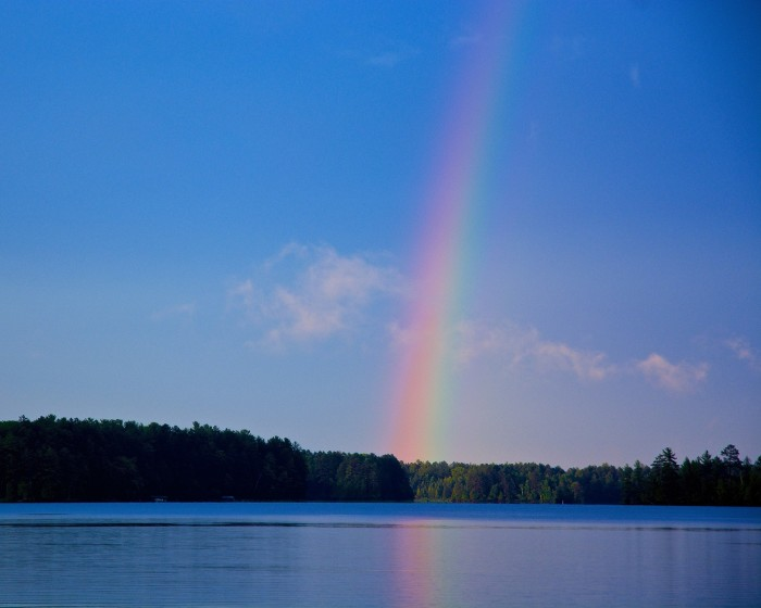 10. This beautiful rainbow fades into the sky up in Oneida.