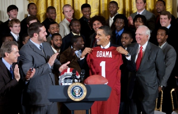8) We're super proud of our two national  football championship teams - the Alabama Crimson Tide and the Auburn Tigers.