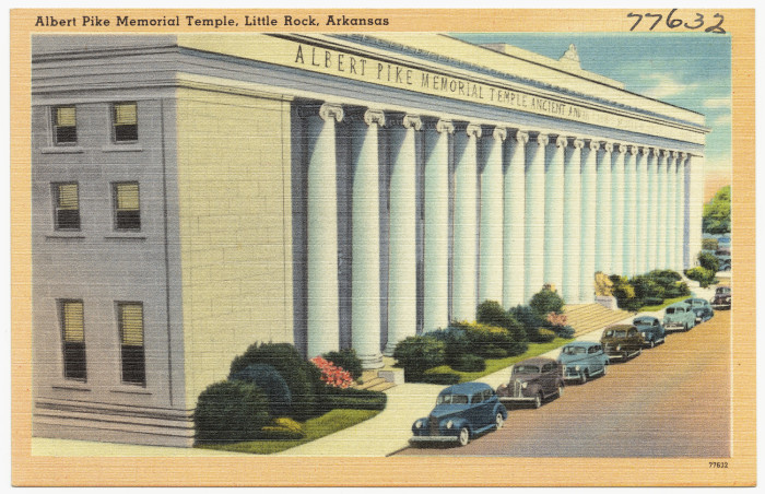 40. Albert Pike Memorial Temple: The Albert Pike Memorial Temple is located at 700–724 Scott Street in Little Rock, Arkansas. On November 13, 1986, it was added to the National Register of Historic Places for its architectural and historical significance.