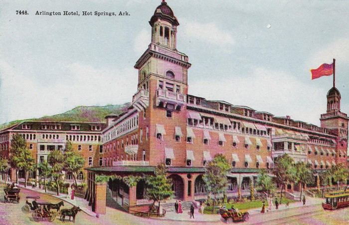1. The Arlington Hotel:  This sprawling twin-towered 1924 landmark remains a brief 15-minute walk past Bath House Row to Downtown Hot Springs.