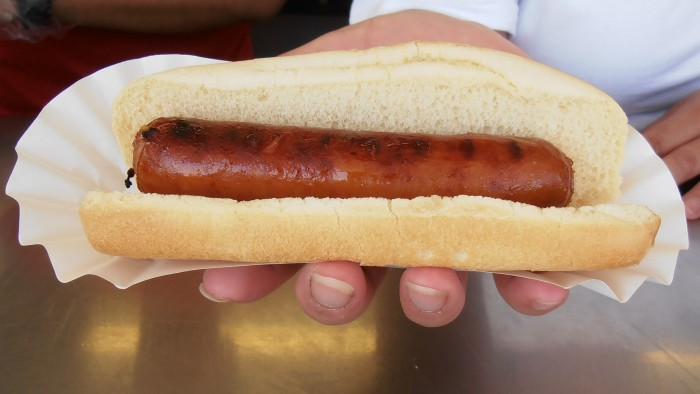 4. They ask where the nearest brat stand is.