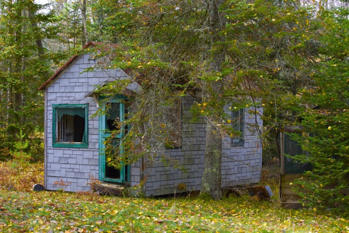 9. This abandoned cabin is in Rhinelander, Wisconsin. Love the color of the door and window trim!