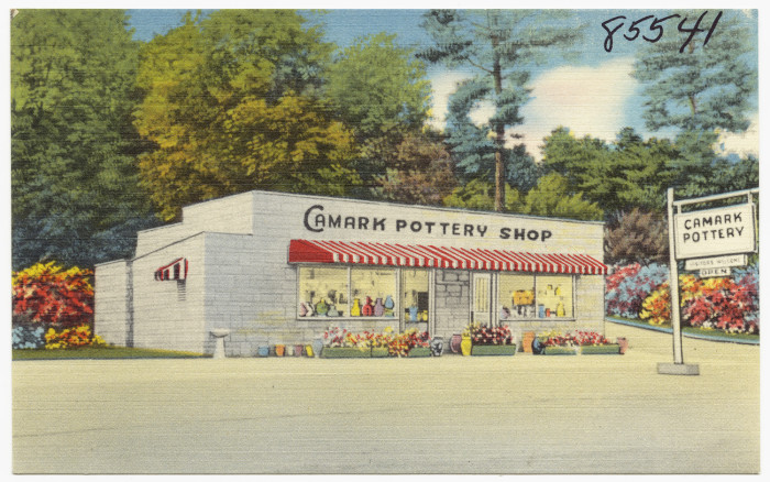 7. Camark Pottery Shop: Founded in 1926, Camden Art Tile and Pottery Company was the third and last producer of art pottery in Arkansas. By the end of its first year, its name had changed to Camark to include both the city of Camden and the state of Arkansas.