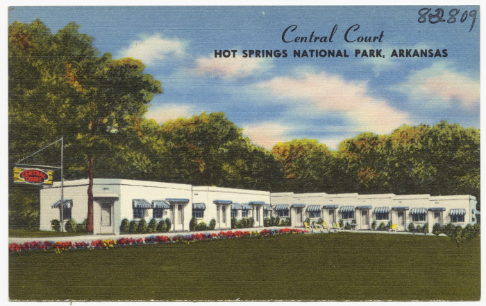 """25. Central Court: This fine example of """"tourist courts"""" was taken as a postcard in Hot Springs, Arkansas."""