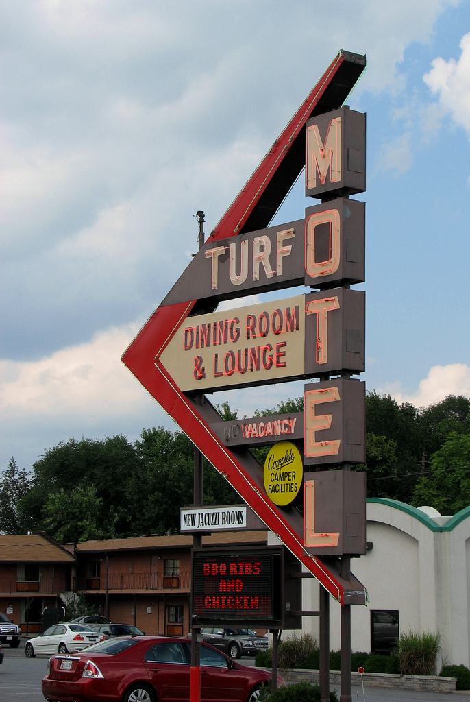 10) A vintage style motel sign in Charles Town, West Virginia.