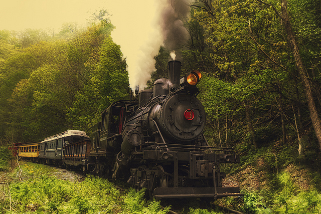 6) Engine #3 was just rounding a corner at Chestnut Hollow Bend.