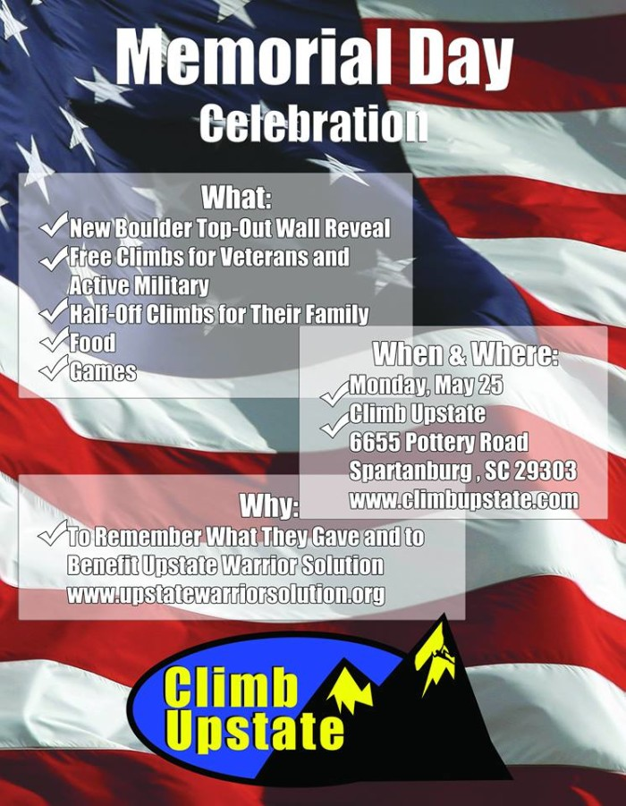 6. Memorial Day Celebration with Climb Upstate