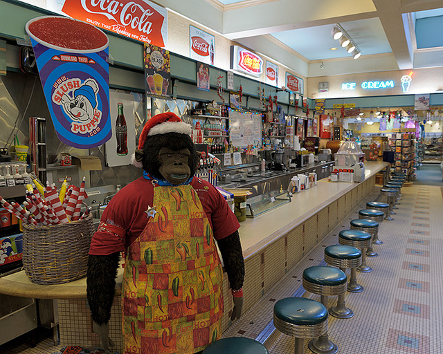 20. Cronies Cafe and Old-Fashioned Soda Fountain: Located in picturesque Mountain View, Arkansas, the soda fountain menu here includes ice cream sodas, cones, phosphates, shakes, malts, sundaes, and banana splits.