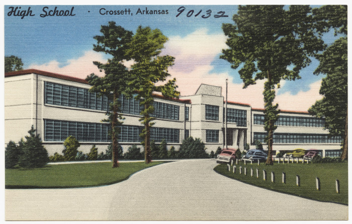 47. Crossett High School: This vintage postcard of Crossett High School might be of interest of students who attend the school today.