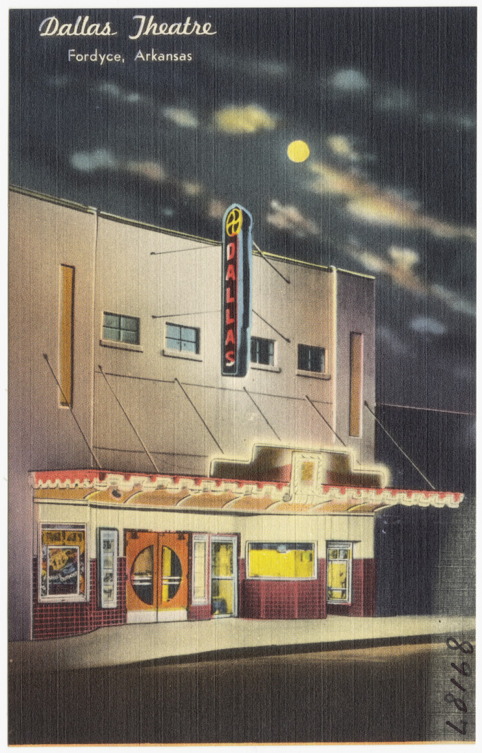 23. Dallas Theater: This postcard is of a former theater in Fordyce, Arkansas.