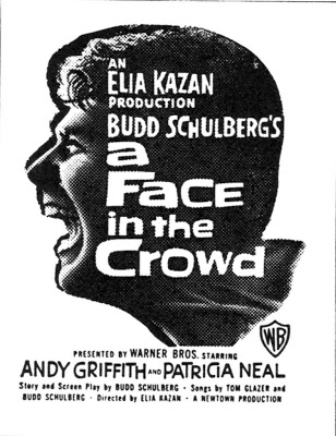 "2. A Face in the Crowd (1957): A classic filmed by Elia Kazan, this movie is based on Budd Schulberg's ""Your Arkansas Traveler,"" a short story  about a fictitious Arkansas native. Shot on location in Piggott, Arkansas, the film is known for being the screen debut of late legends Lee Remick  and Andy Griffith."