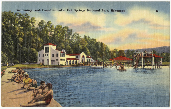 46. Fountain Lake: This postcard is from Fountain Lake in Hot Springs, Arkansas.