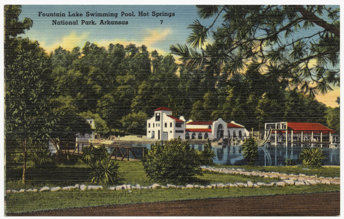 39. Fountain Lake Swimming Pool: Located in Hot Springs, Fountain Lake was a popular spot for tourists to send postcards.