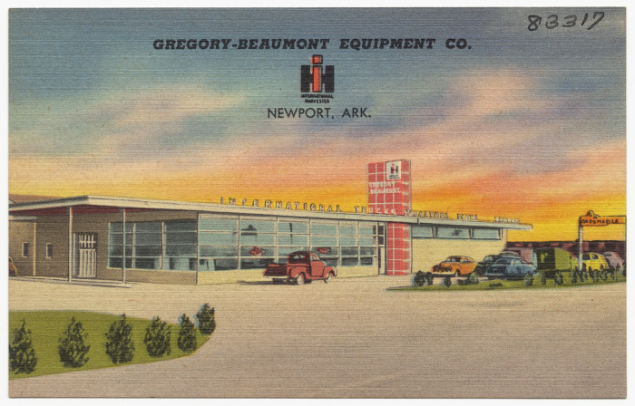 21. Gregory Beaumont Equipment Company: This postcard was taken of a Newport, Arkansas-based equipment company.