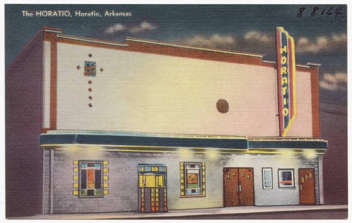 43. The Horatio: This postcard of the aptly-named theater was based in Horatio, Arkansas.
