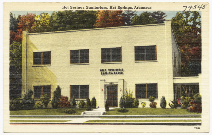 32. Hot Springs Sanitarium: Used as medical bath facilities to cure specific ailments, this structure was photographed circa 1930-1945.