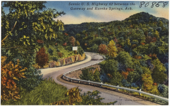 18: Highway 62: US Highway 62 passes through several cities and towns in Arkansas, including Fayetteville, Springdale, Bentonville, Harrison, Mountain Home, Pocahontas, and Piggott.