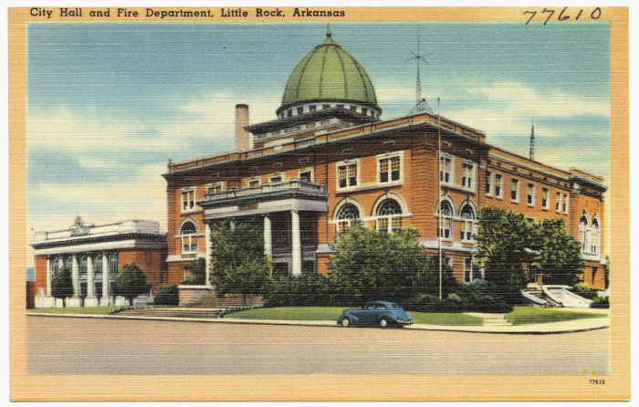 4. Little Rock City Hall and Fire Department: Little Rock City Hall is located on the northwestern corner of West Markham and Broadway in Little Rock. Designed by noted architect Charles L. Thompson, it has been the seat of government for the state's largest municipality since 1908.