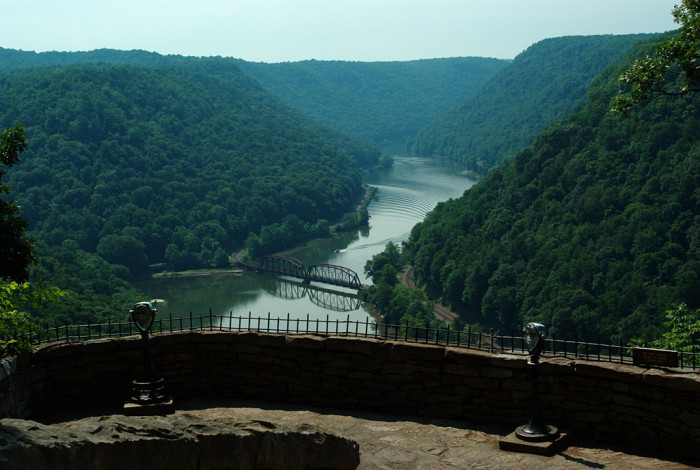 3) Hawks Nest State Park covers roughly 300 acres in Fayette County, West Virginia.