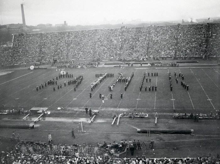 """14. The University of Wisconsin marching band spelling out """"Father"""" in 1949."""