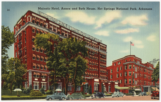 17: The Majestic Hotel: This second postcard of the Majestic in Hot Springs shows the luxury hotel in another side of its glory.