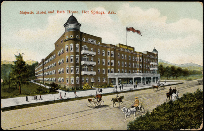31. The Majestic Hotel and Bath House: The Majestic Hotel was one of the first brick buildings in Hot Springs, featuring 150 rooms, 50 of those with private baths. The historic luxury hotel officially closed in 2006.