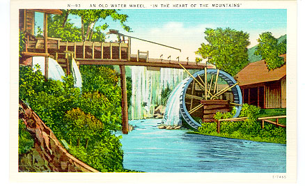3. This postcard of an old water wheel is a beautiful piece of art. Something I would definitely hang on my mirror. The colors pop right at you, capturing the beauty of summer in the NC mountains.