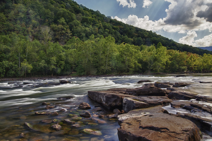 15) Pictured below is the New River, just below the Sandstone Falls.