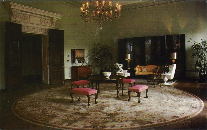 5) The North Parlor in the Greenbrier Resort on a postcard, taken sometime in the 1960s.