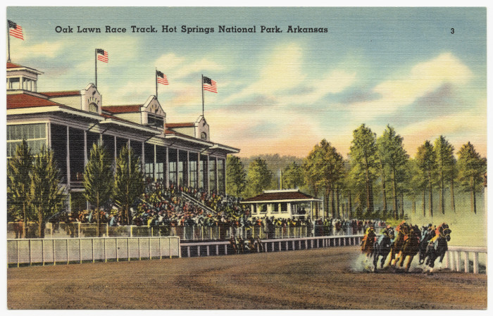 6. Oaklawn: The Spa City's beloved Oaklawn Park officially opened on February 24, 1905. More than 3,000 people attended as a holiday had been declared in Hot Springs. During these early years the track only ran six races a day, similar to British cards. Political problems in the state forced the closure of Oaklawn in 1907. During this time of closure, the track was sold to Louis Cella as the original business partners had both died. The track reopened in 1916 under the auspices of Business Men's League of Hot Springs.