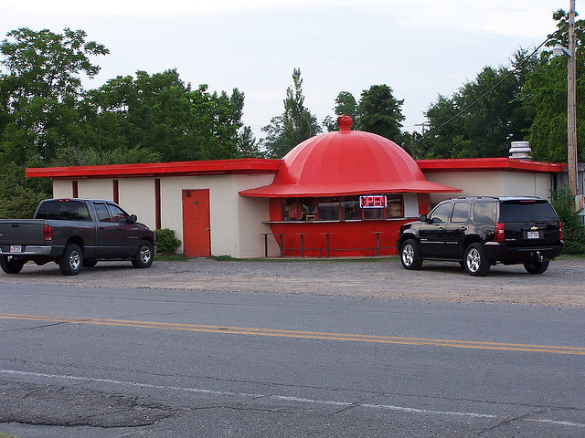 3. The Mammoth Orange Café: Located in Redfield, AR (halfway between Little Rock and Pine Bluff) this roadside attraction was constructed in 1966.