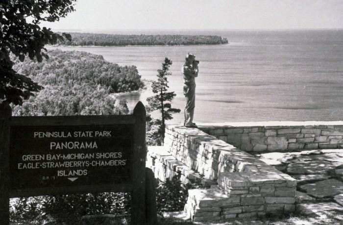 3. Looking over Lake Michigan at Peninsula State Park in 1940.