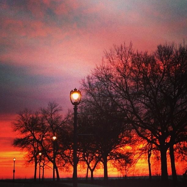 8. A gorgeous sunrise builds over Bradford Creek, Milwaukee.