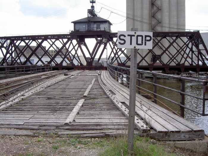 6. This abandoned railroad swing bridge is located in the Third Ward (Milwaukee).