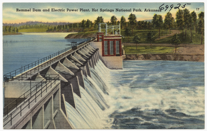 34. Remmel Dam: This postcard-perfect dam remains situated on the Ouachita River at Jones Mills. It was constructed in 1924 by Arkansas Power and Light (now Entergy) in response to the growing demand for electrical power in southern Arkansas and surrounding states.