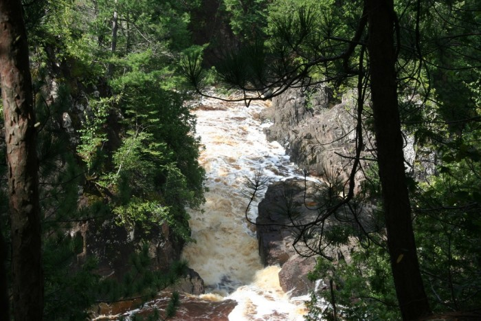 3. Saxon Falls  is ninety feet and is located on the Wisconsin/Michigan border.