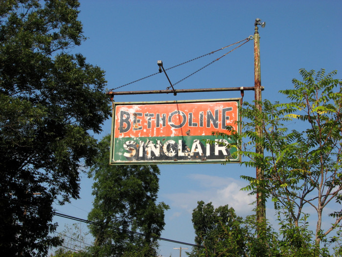 12) A vintage Betholine Sinclair sign photographed in Berkeley Springs, West Virginia.