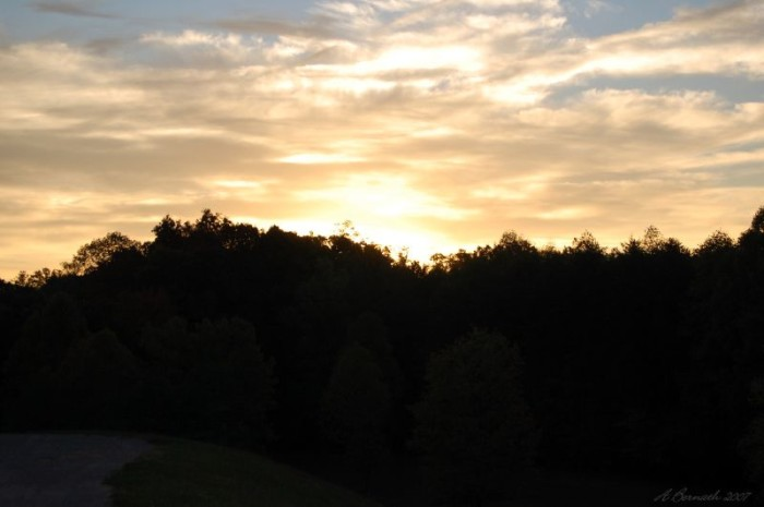2) The magnificent sunrise in Sissonville, West Virginia.