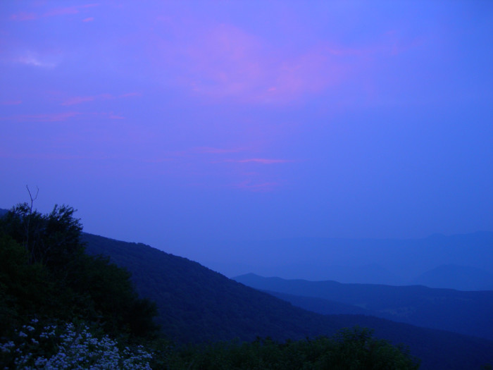 3) The perfectly blue skies during the sunrise at Spruce Knob, which is the highest point in West Virginia.