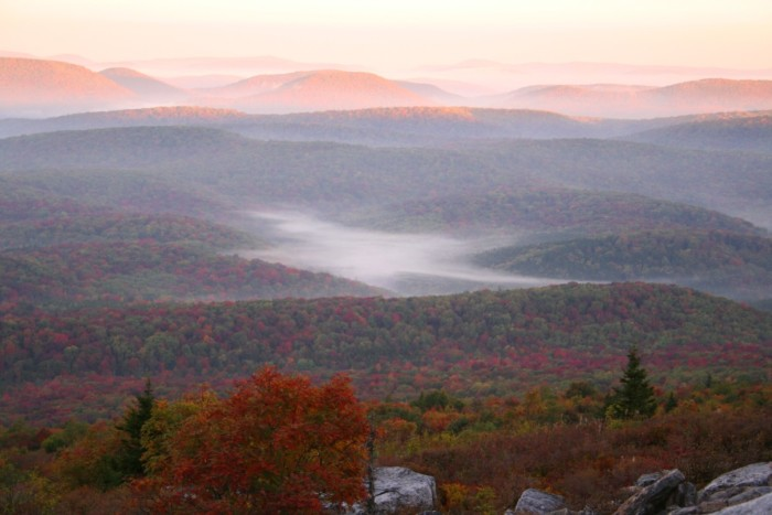 4) Another shot off of Spruce Knob mountain, but this time the sunrise is over the beautiful fall foliage.