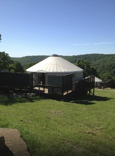 3. StoneWind Retreat: This Chester, Arkansas retreat features yurt cabins built on decks fully furnished for long or short term stays. StoneWind Retreat features 8 comfortable and unique 709-square-foot Yurt Cabins built on 40 x 40' decks overlooking the Boston Mountains.