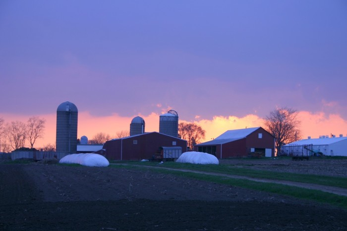 15. There's nothing more beautiful than the sun setting over a farm--this one in Sun Prairie.