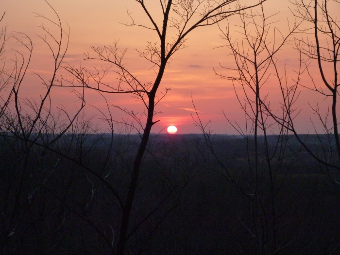 9. This is a really interesting shot of the sun setting through the barren trees in Mitchell.