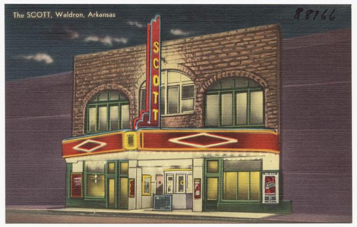 29. The Scott: This ritzy postcard, circa 1930s-40s, was taken in Waldron, Arkansas.
