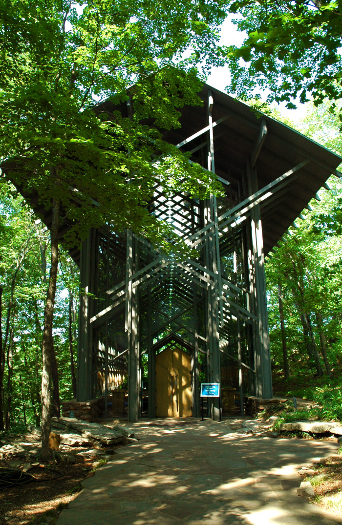 1. Thorncrown Chapel: This chapel, located in Eureka Springs, Arkansas, was designed by E. Fay Jones (who also designed the Cooper Chapel in Bella Vista) and was constructed in 1980.