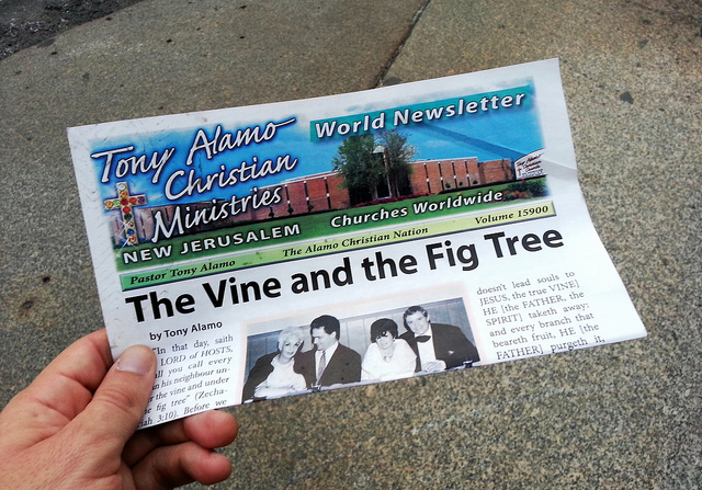 2. Tony Alamo: Born Bernie Lazar Hoffman,  Alamo is a well-known evangelist who, after a radical conversion to Christianity, founded what is now called Tony Alamo Christian Ministries with his wife, Susan, later establishing its headquarters in Dyer, Arkansas. Widely regarded as a cult, Tony Alamo Christian Ministries has been at the center of a number of lawsuits and government actions, and its leader has been jailed on a variety of charges, including income tax evasion, the theft of his late wife's body, and taking underage girls across state lines for sex.