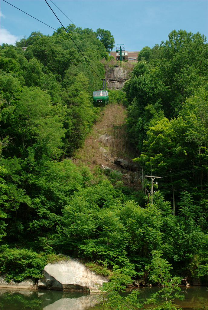The Aerial Tramway from the Hawk's Nest lodge to the mariana at the bottom of the New River Gorge is absolutely amazing!