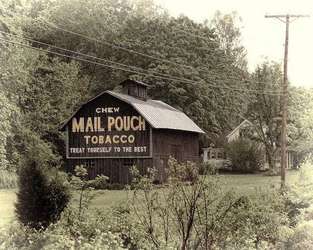 1) Somewhere along US Route 52, Mail Pouch Tobacco.