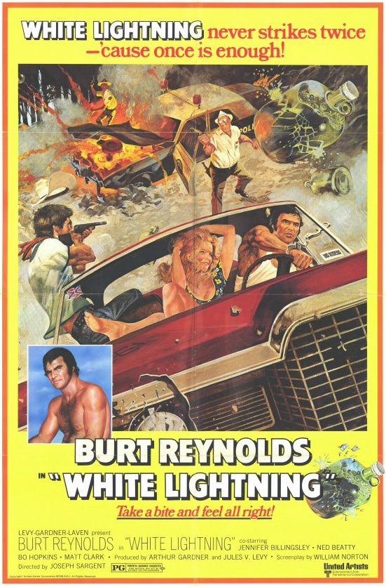 5. White Lightning (1973): A 1973 film directed by John Sargent, this movie stars Burt Reynolds as Gator McKlusky, a moonshine runner who is  jailed in Arkansas for running moonshine. To avenge his younger brother's death by a crooked policeman, Gator makes a deal with federal  authorities to expose the police department's corruption. The movie features a grand finale car chase sequence.